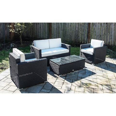 Outsunny 4 Piece Outdoor Rattan Wicker Sofa Sectional Patio Furniture Set