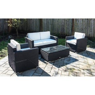Charmant Outsunny 4 Piece Outdoor Rattan Wicker Sofa Sectional Patio Furniture Set