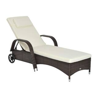 Outsunny Outdoor Rattan Wicker Poolside Chaise Lounge Chair with Adjustable Backrest - Mixed Brown