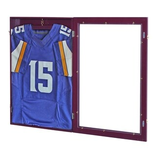 "HomCom 32"" x 24"" Jersey Memorabilia Shadow Box Display Case - Brown"
