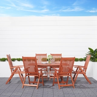 Havenside Home Surfside Eco-friendly 7-piece Wood Outdoor Dining Set with Foldable Armchairs