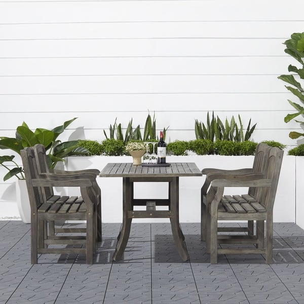 Havenside Home Surfside Rectangular Table and Armchair 5-piece Hardwood Outdoor Dining Set