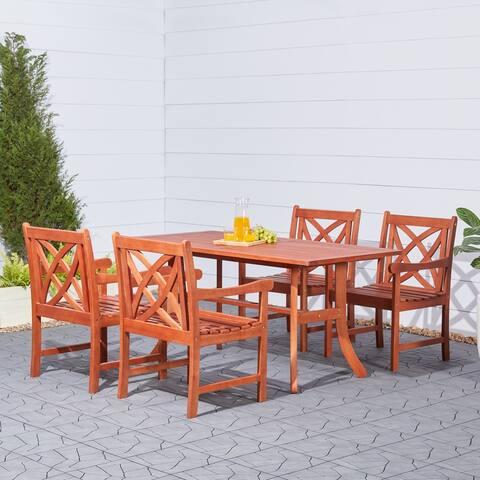 Malibu Eco-friendly Eucalyptus Wood 5-piece Outdoor Dining Set