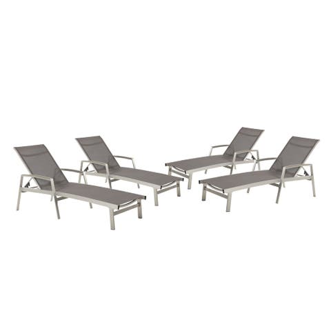 Oxton Outdoor Aluminum Chaise Lounge (Set of 4) by Christopher Knight Home