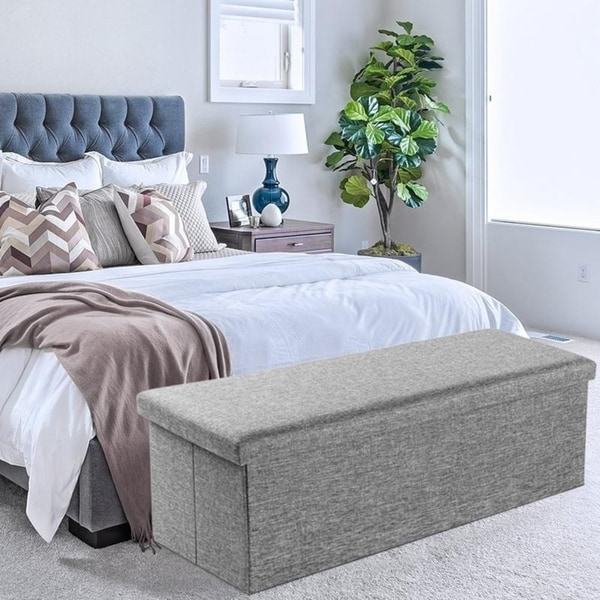 """Kosas Home Fabric Storage Bedroom Bench Reviews: Shop 43"""" Fabric Storage Ottoman Bench Foot Rest For"""
