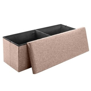 43 Fabric Storage Ottoman Bench Foot Rest for Bedroom (Brown)