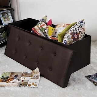 "43"" Large Size Storage Ottoman Bench PVC Leather Rectangle Shape"