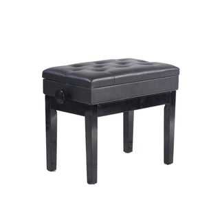 Single Piano Stool Storage Ottoman with Leather Buckle Black