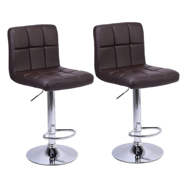 2pcs Bar Stools PU Leather Adjustable Swivel Pub Bistro Counter Dining Chair
