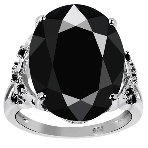 11.38 Ct Black Spinel Gemstone Sterling Silver Ring By Orchid Jewelry