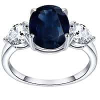 Blue Sapphire & White Topaz 925 Sterling Silver 3-Stone Ring