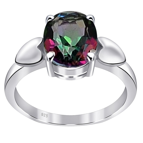 Glitzs Jewels 925 Sterling Silver Created Opal Ring Jewelry Gift for Women White With Dark Red CZ
