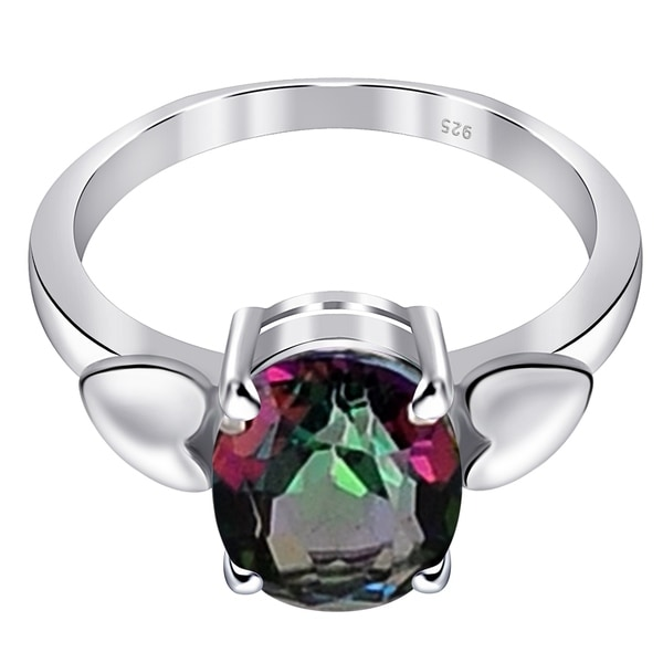 Glitzs Jewels 925 Sterling Silver Created Opal Ring Heart Filigree | Jewelry Gift for Women Pink