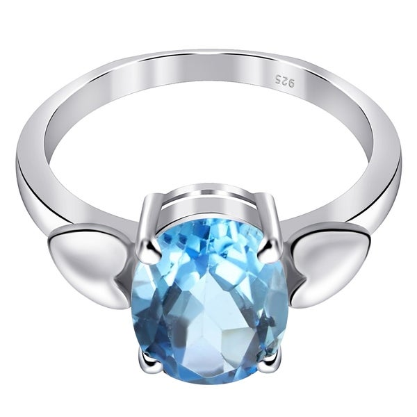 Glitzs Jewels 925 Sterling Silver Created Opal Ring Blue Jewelry Gift for Women