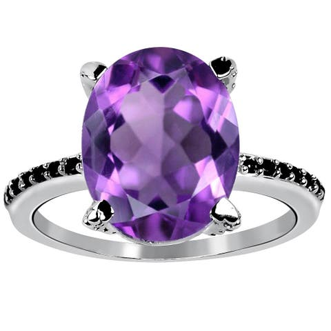 6.5 Carat Amethyst and Black Spinel Solitaire Ring By Orchid Jewelry
