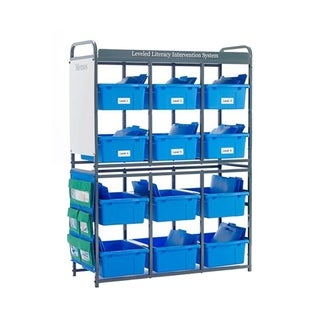 Copernicus Storage Room Organizer for Leveled Literacy Program with Blue Tubs