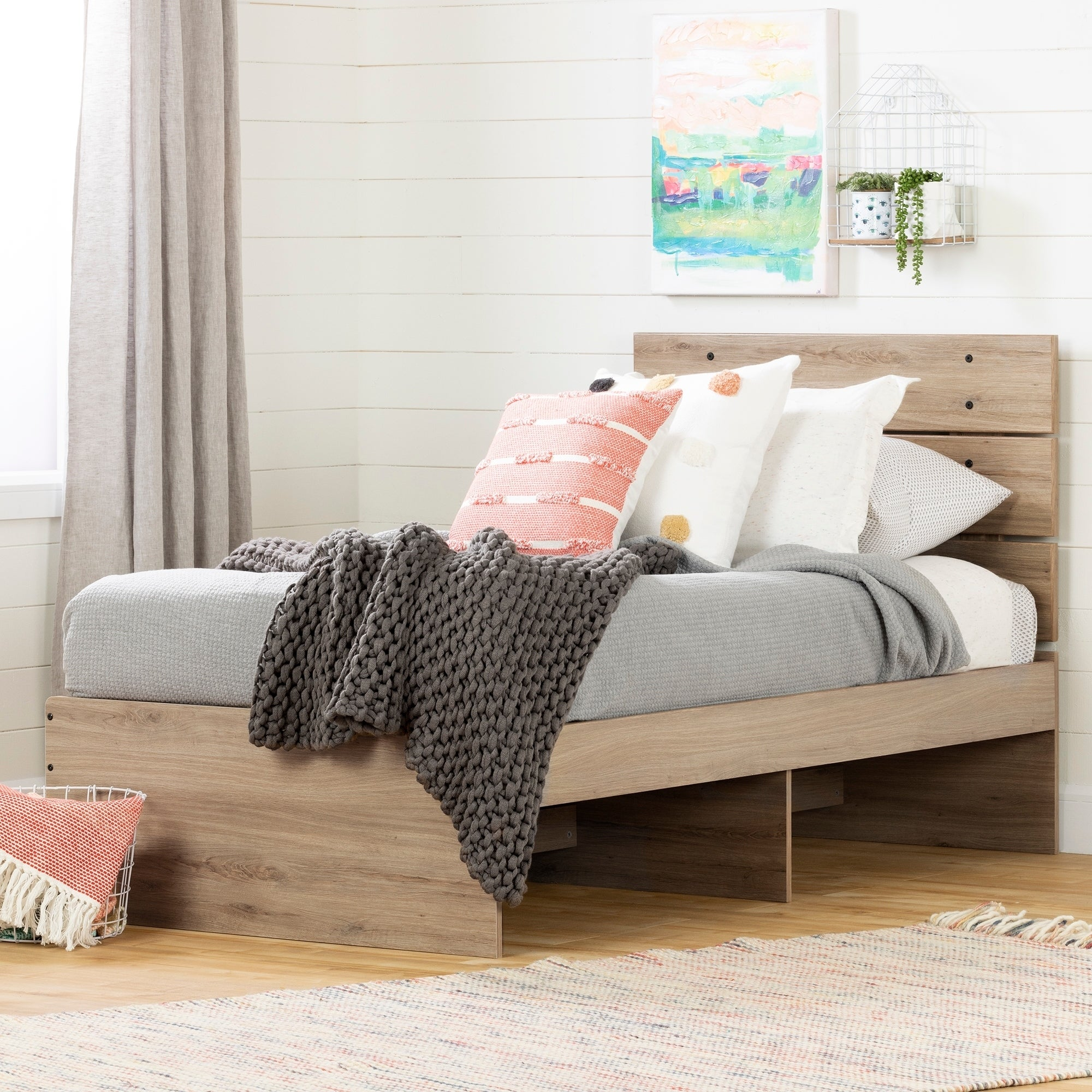 South Shore Fakto Bed Set - Bed and Headboard (Rustic Oak)