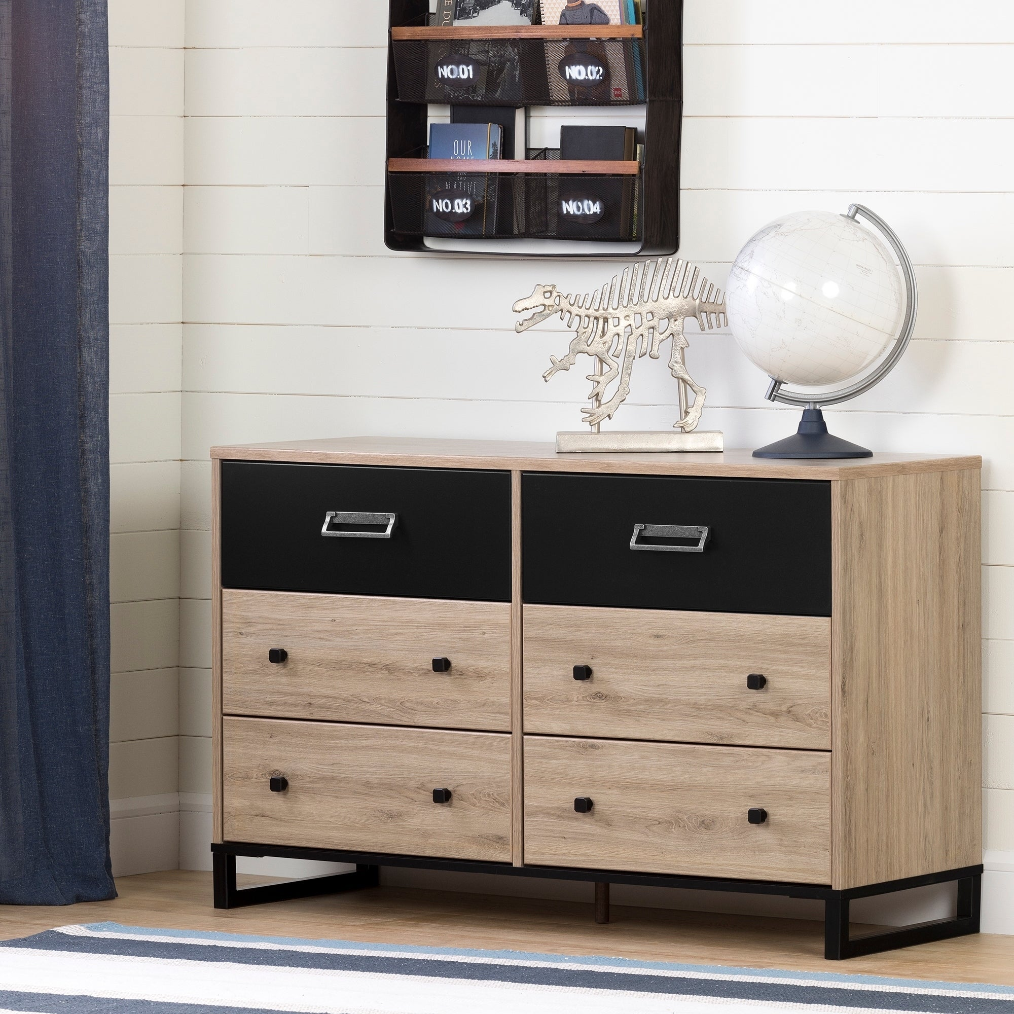 South Shore Induzy  6-Drawer Double Dresser (Rustic Oak and Matte Black)