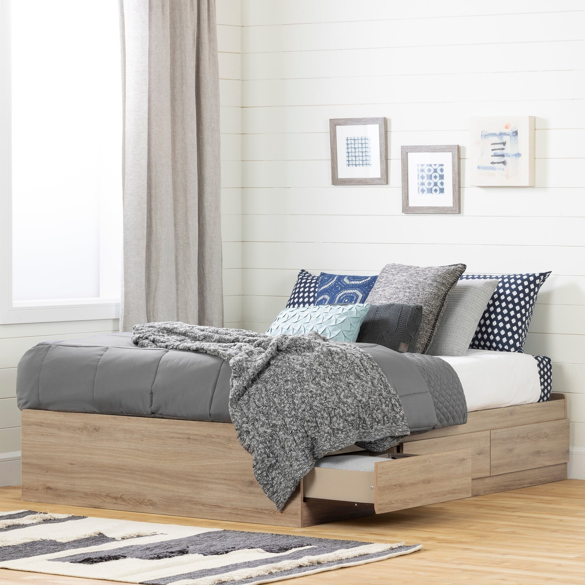 South Shore Fakto Mates Bed with Storage Drawers (Rustic Oak)