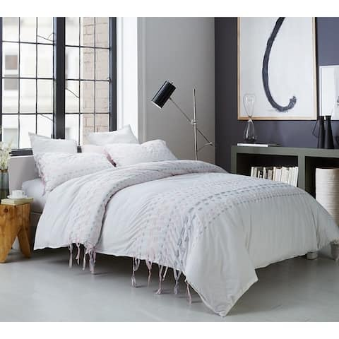 BYB Threads Textured Oversized Duvet Cover - Gray/Pink