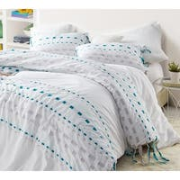 BYB Threads Textured Oversized Duvet Cover - Gray/Teal