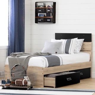 South Shore Induzy Bed Set with 2 Drawers (Rustic Oak and Matte Black)