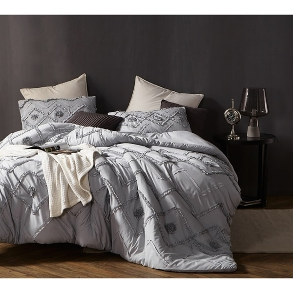 BYB Ruffled Chevron Textured Oversized Comforter - Glacier Gray