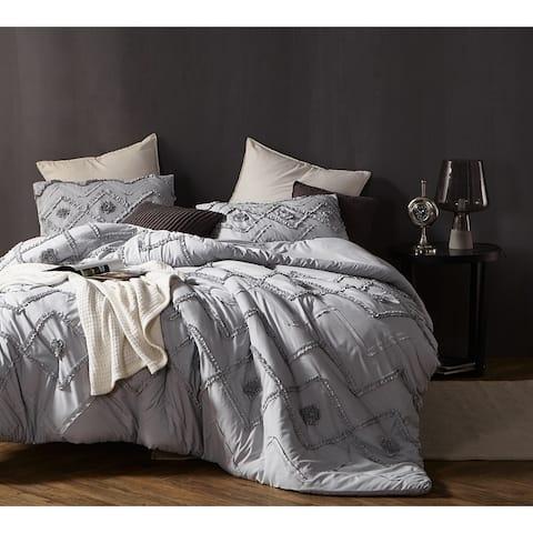 BYB Ruffled Chevron Textured Oversized Comforter - Glacier Gray