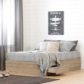 South Shore Induzy Mates Bed with Storage Drawers (Rustic Oak)