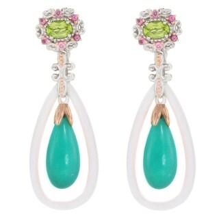 Michael Valitutti Palladium Silver Amazonite, White Quartzite & Multi Gemstone Drop Earrings