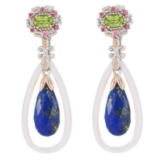 Michael Valitutti Palladium Silver Sodalite, White Quartzite & Multi Gemstone Drop Earrings