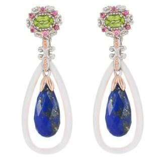 Michael Valitutti Palladium Silver Sodalite, White Quartzite & Multi Gemstone Drop Earrings