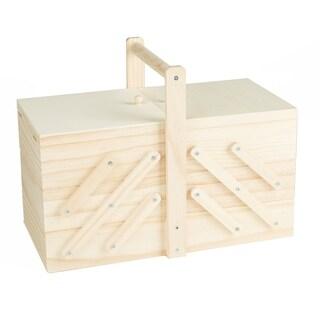Mind Reader Sewing Box Organizer, Needles, Thread, Scissors, Wood, Brown