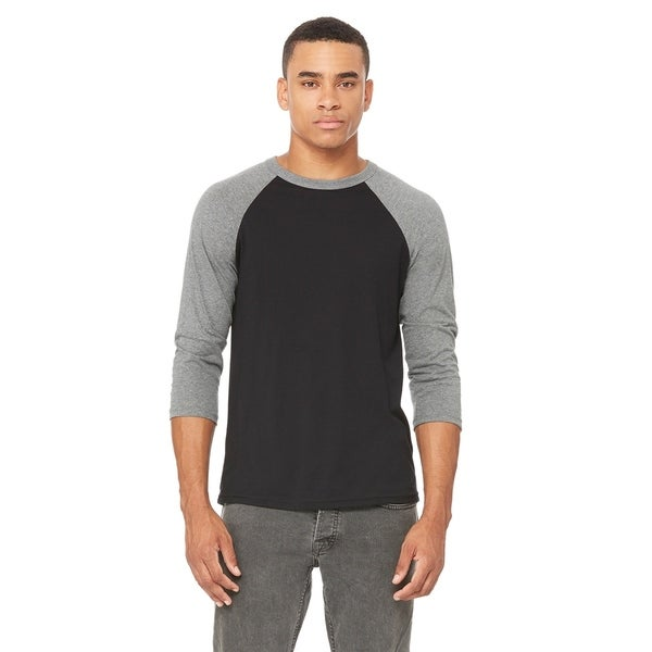 Bella + Canvas mens Triblend 3/4-Sleeve Baseball T-Shirt (3200)
