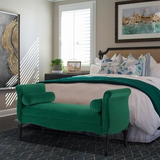 Jennifer Taylor Olivia Roll Arm Entryway Bench - 55LX21WX28.5H (Cushion Included - ultramarine green - Modern & Contemporary - Entryway)
