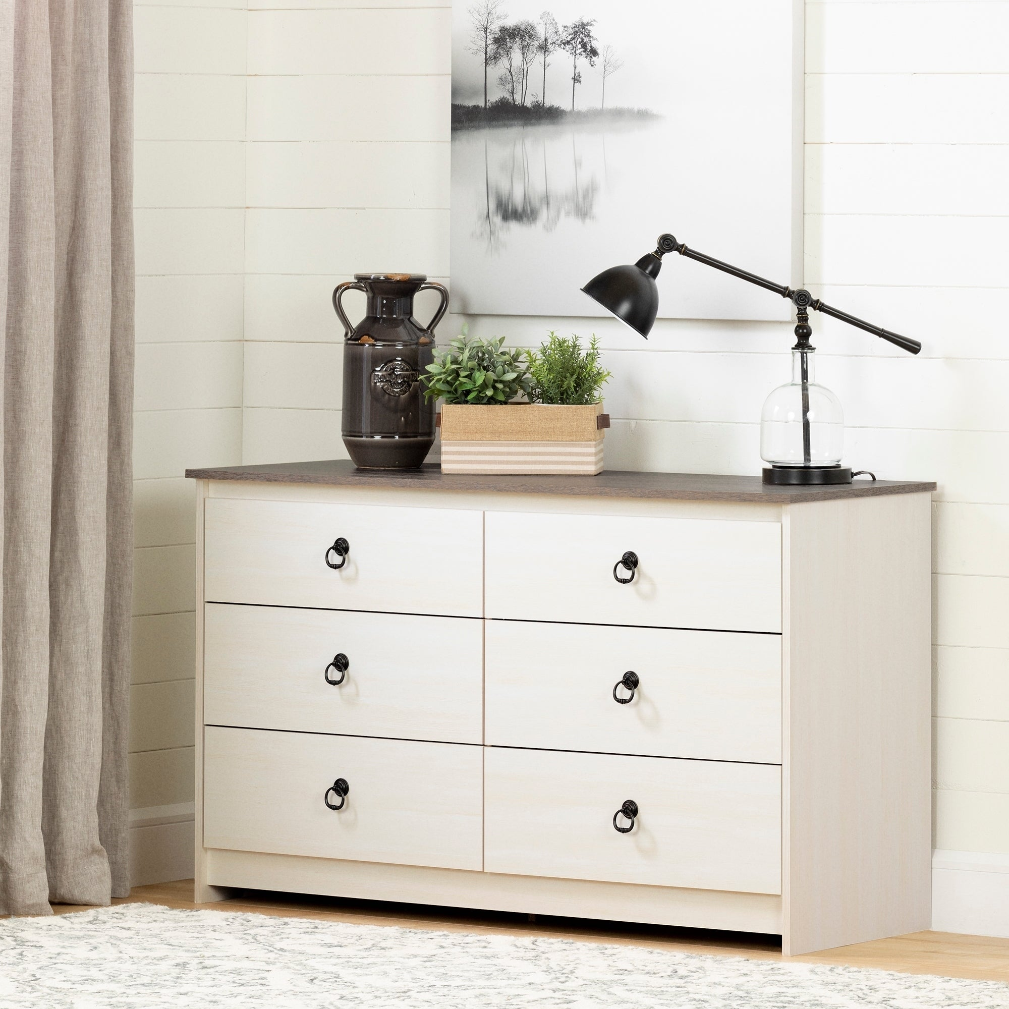 South Shore Plenny  6-Drawer Double Dresser (White Wash and Weathered Oak)