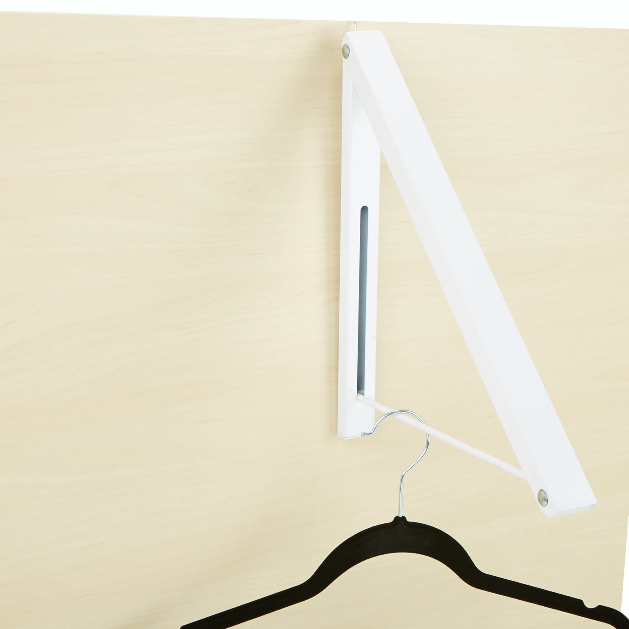 Mind Reader Collapsible Open Hanger Rack Wall Mounted Clothing Holder Space Saver White