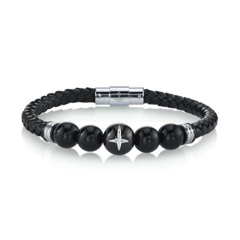 Spartan Men's Hematine Beads and Man-Made Leather Stainless Steel Bracelet