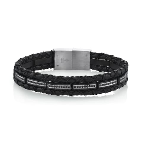 Spartan Men's Black Man-Made Leather Stainless Steel Bracelet with Black Cubic Zirconia