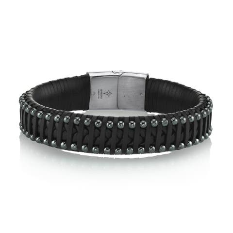 Spartan Men's Man-Made Black Leather and Hematine Beads Bracelet