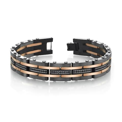 SPARTAN Two-Tone Stainless Steel Men's Bracelet with Black Cubic Zirconia