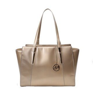 McKlein USA Aldora Gold Leather Tote with Tablet Pocket