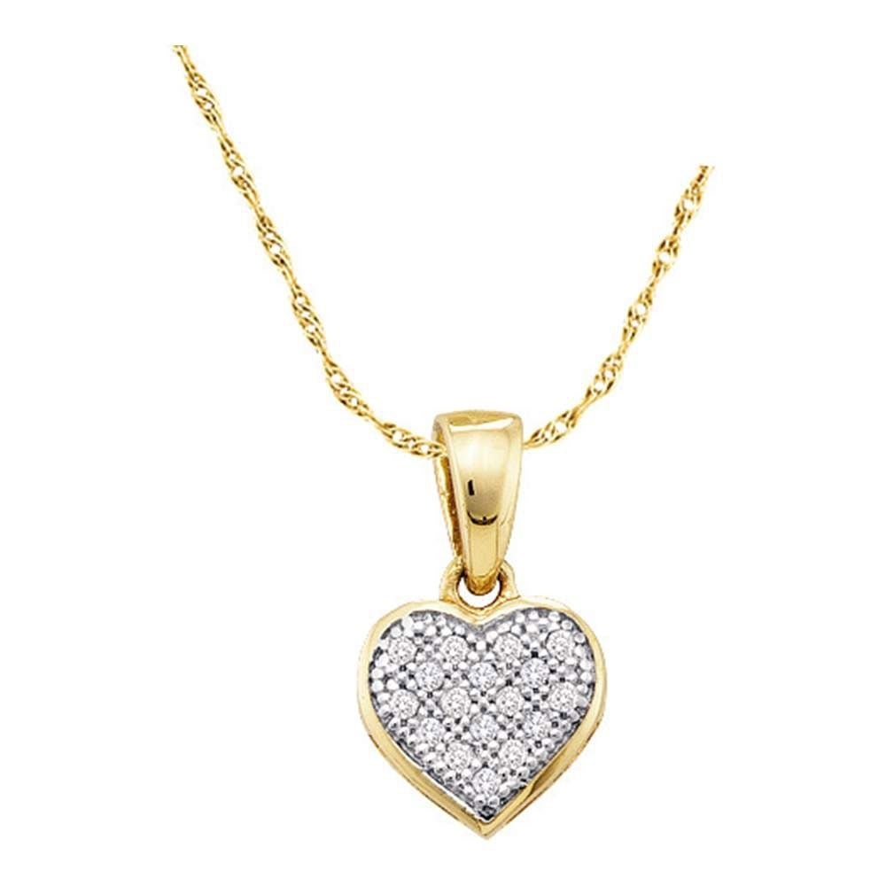 10kt White Gold Womens Round Diamond Simple Heart Cluster Pendant 1//20 Cttw