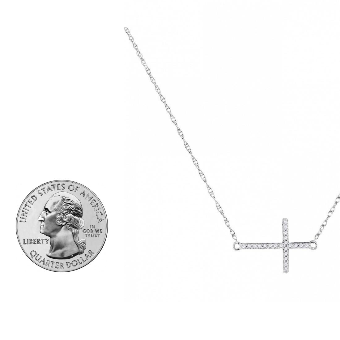 10k Yellow Gold Round Diamond Sideways Horizontal Cross Pendant Necklace 1//20
