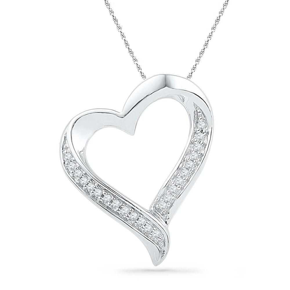 10kt White Gold Womens Round Diamond Heart Love Pendant 1//10 Cttw