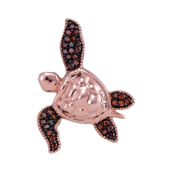 10kt rose gold womens round red color enhanced diamond sea turtle