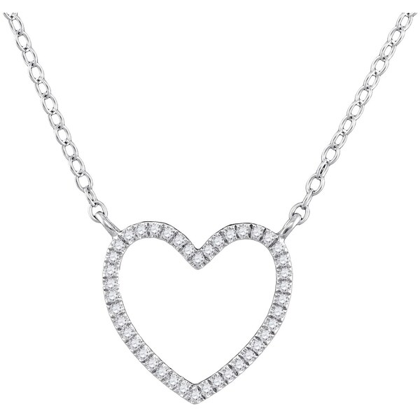 10kt White Gold Womens Round Diamond Heart Love Pendant Necklace 1 10 Cttw 4a8b627fb