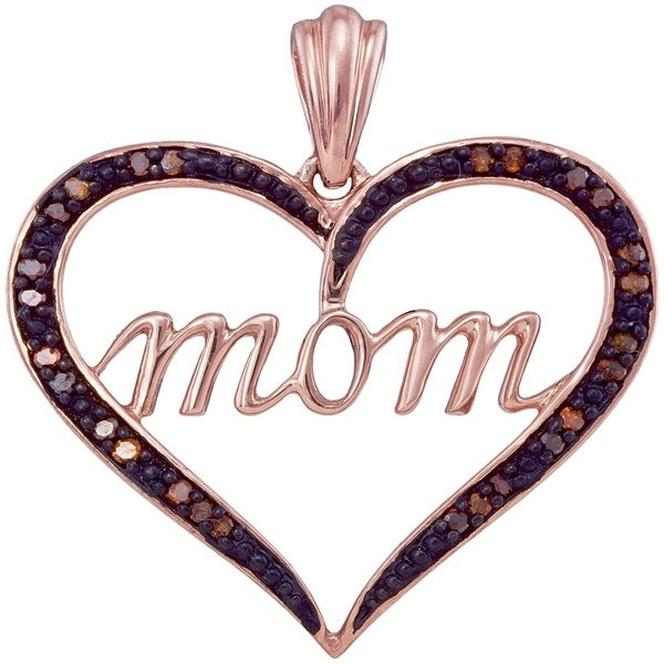 Sterling Silver Diamond Mom Mother Heart Pendant 1//12 ct