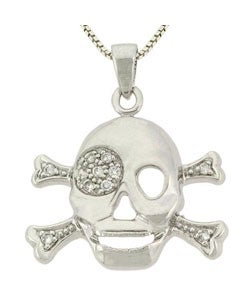 Icz Stonez Sterling Silver CZ Skull and Crossbone Pendant