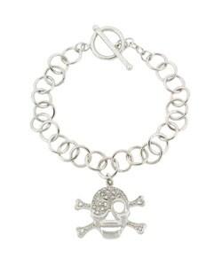 Icz Stonez Sterling Silver CZ Skull Toggle Bracelet